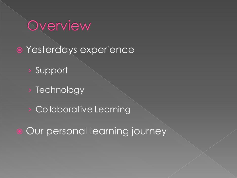  Yesterdays experience › Support › Technology › Collaborative Learning  Our personal learning journey