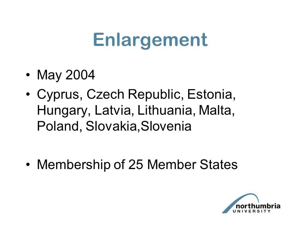 Enlargement May 2004 Cyprus, Czech Republic, Estonia, Hungary, Latvia, Lithuania, Malta, Poland, Slovakia,Slovenia Membership of 25 Member States