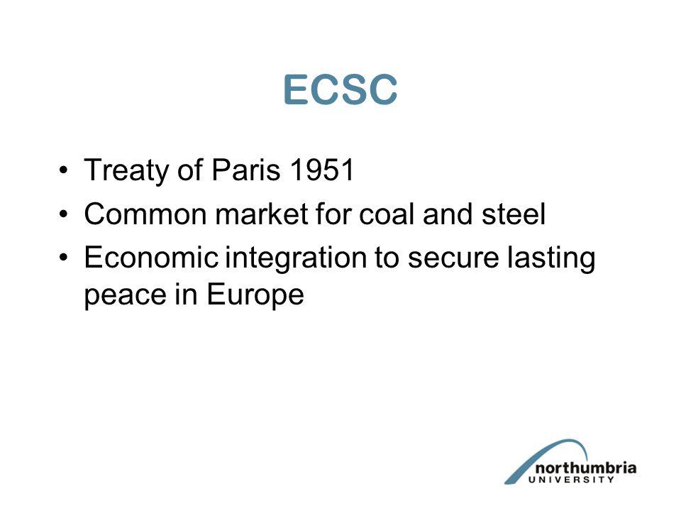 Treaty of Rome 1957 Established the European Economic Community(EEC) Second Treaty of Rome established European Atomic Energy Community (EURATOM)