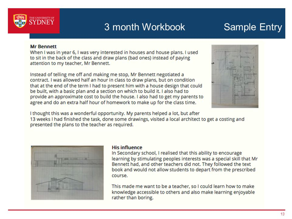 3 month Workbook Sample Entry 13