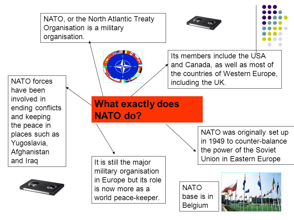 What exactly does NATO do? NATO, or the North Atlantic Treaty Organisation is a military organisation. Its members include the USA and Canada, as well