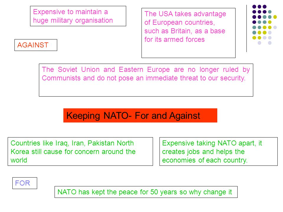 Keeping NATO- For and Against Expensive to maintain a huge military organisation The USA takes advantage of European countries, such as Britain, as a base for its armed forces The Soviet Union and Eastern Europe are no longer ruled by Communists and do not pose an immediate threat to our security.