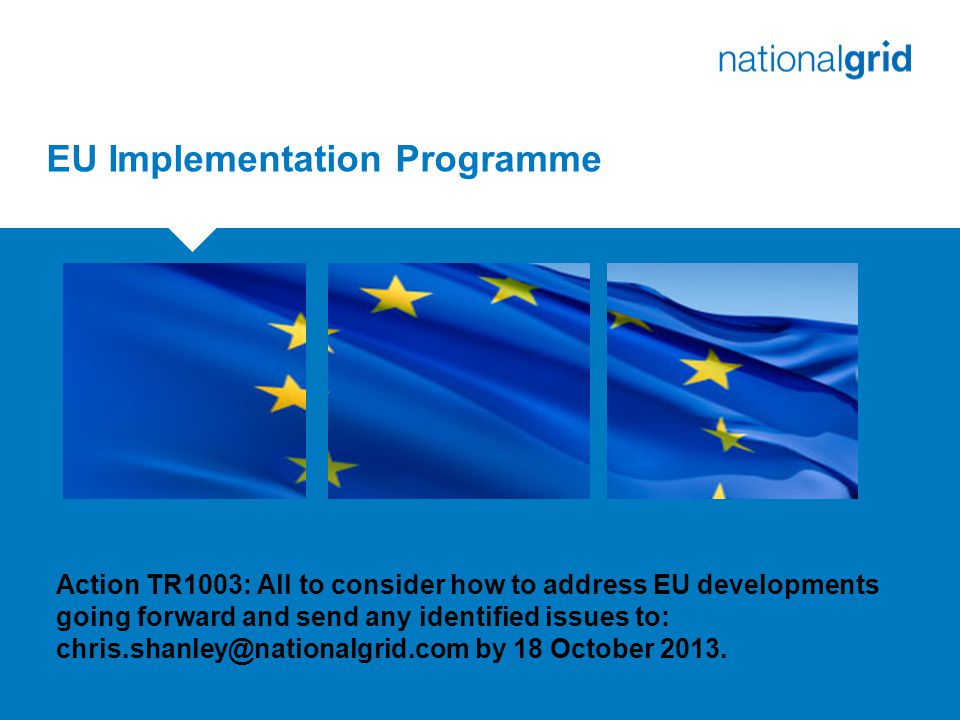 EU Implementation Programme Action TR1003: All to consider how to address EU developments going forward and send any identified issues to: chris.shanley@nationalgrid.com by 18 October 2013.