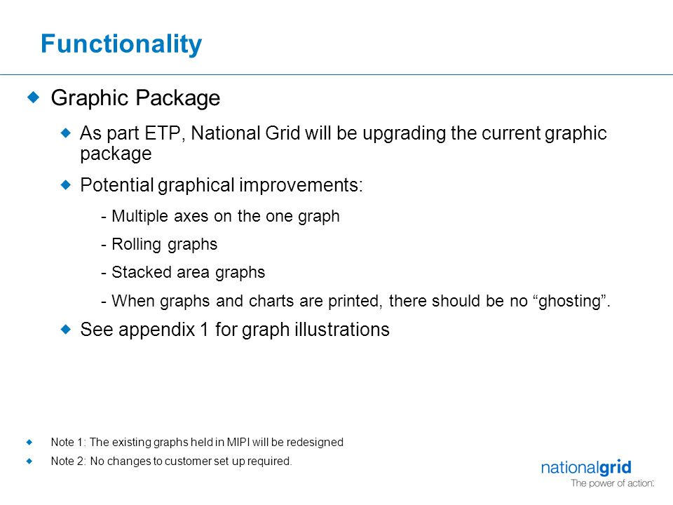 Functionality  Graphic Package  As part ETP, National Grid will be upgrading the current graphic package  Potential graphical improvements: - Multiple axes on the one graph - Rolling graphs - Stacked area graphs - When graphs and charts are printed, there should be no ghosting .