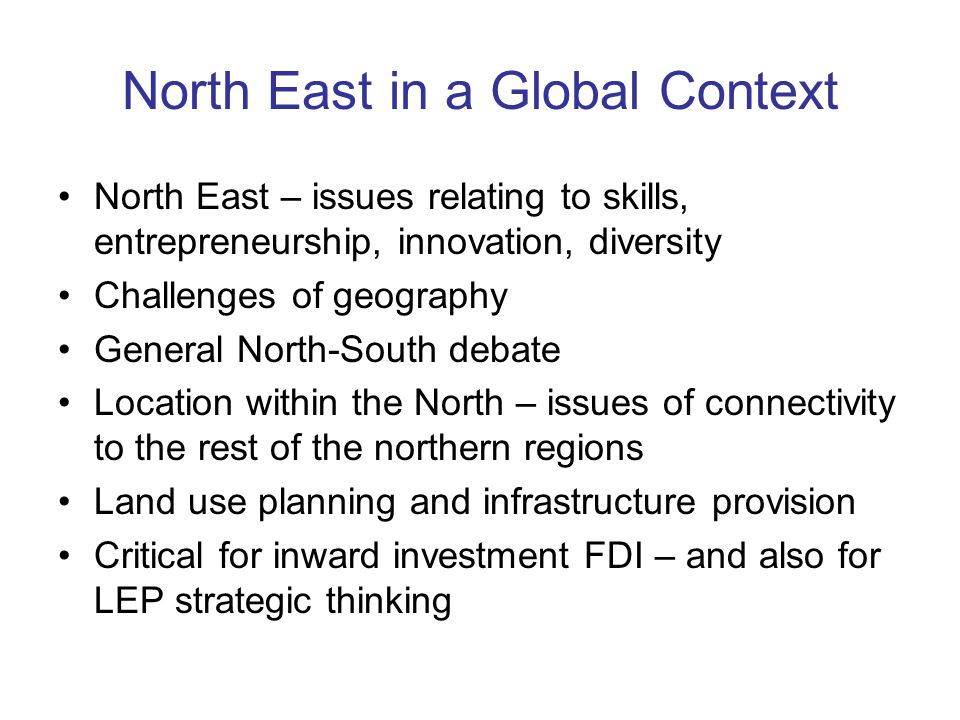 North East in a Global Context North East – issues relating to skills, entrepreneurship, innovation, diversity Challenges of geography General North-South debate Location within the North – issues of connectivity to the rest of the northern regions Land use planning and infrastructure provision Critical for inward investment FDI – and also for LEP strategic thinking