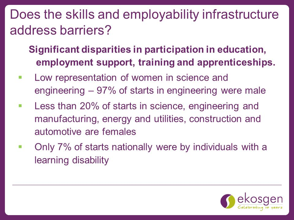 Does the skills and employability infrastructure address barriers.