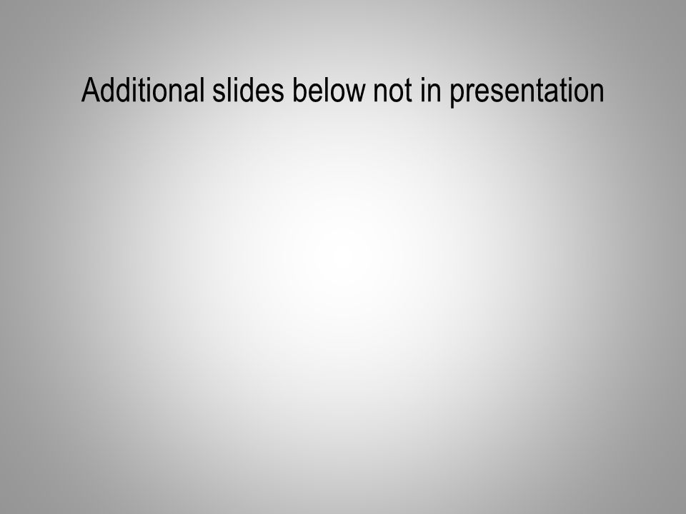 Additional slides below not in presentation
