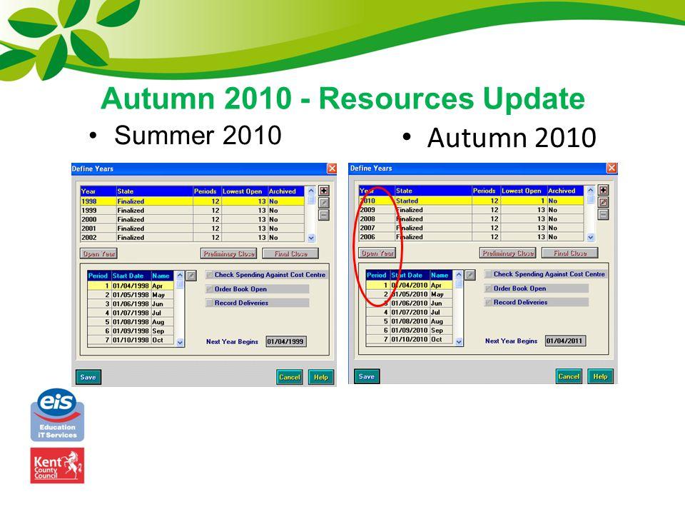 Autumn 2010 - Resources Update Summer 2010 Autumn 2010