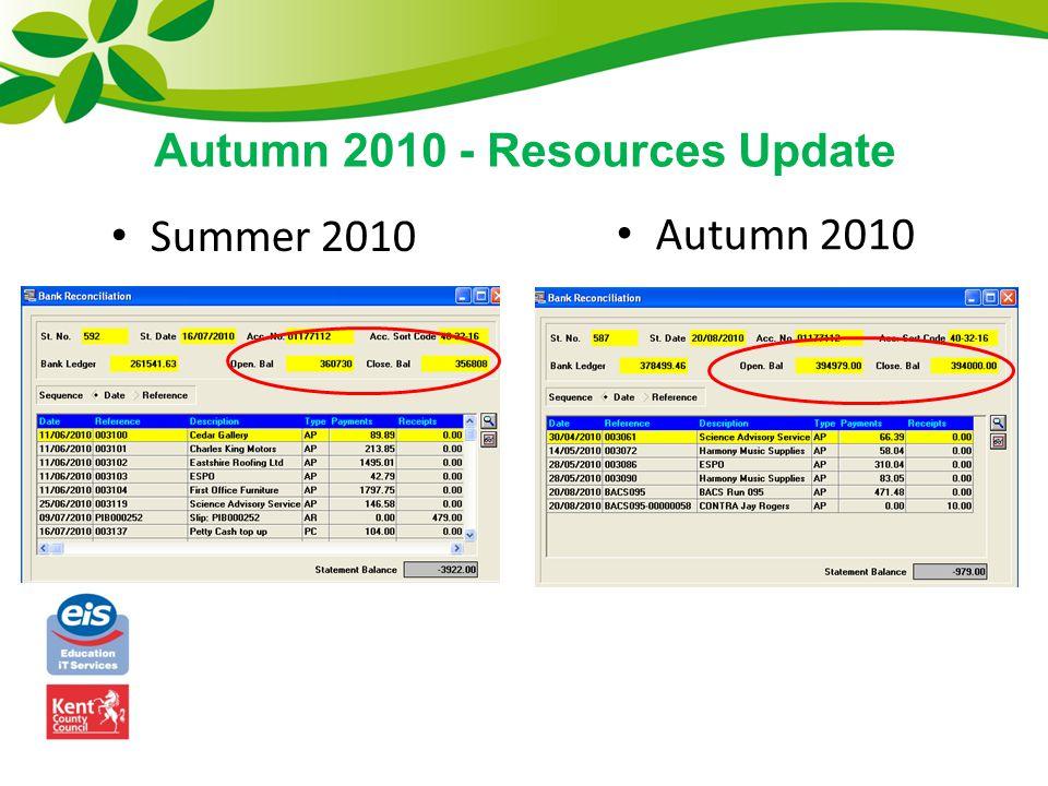 Summer 2010 Autumn 2010 Autumn 2010 - Resources Update