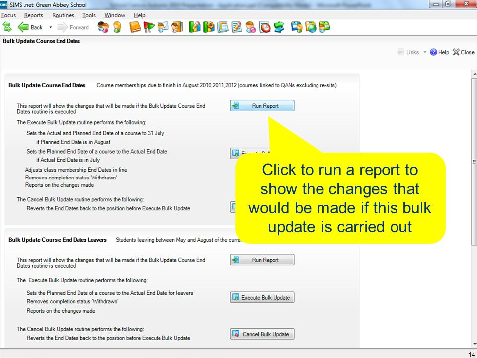 Click to run a report to show the changes that would be made if this bulk update is carried out 14