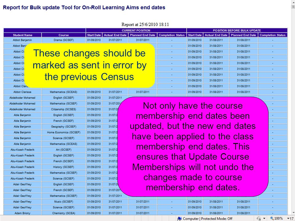These changes should be marked as sent in error by the previous Census 17 Not only have the course membership end dates been updated, but the new end dates have been applied to the class membership end dates.