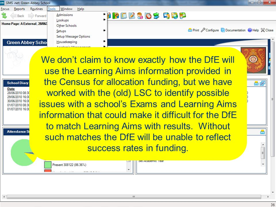 We don't claim to know exactly how the DfE will use the Learning Aims information provided in the Census for allocation funding, but we have worked with the (old) LSC to identify possible issues with a school's Exams and Learning Aims information that could make it difficult for the DfE to match Learning Aims with results.