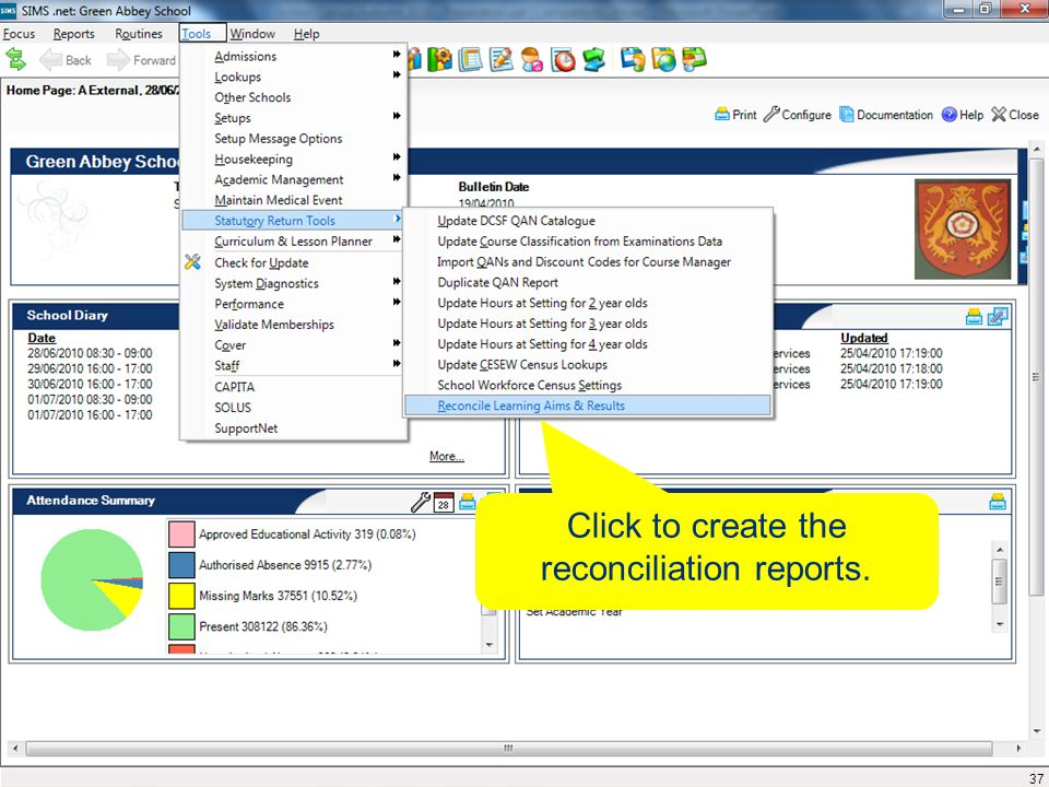 Click to create the reconciliation reports. 37