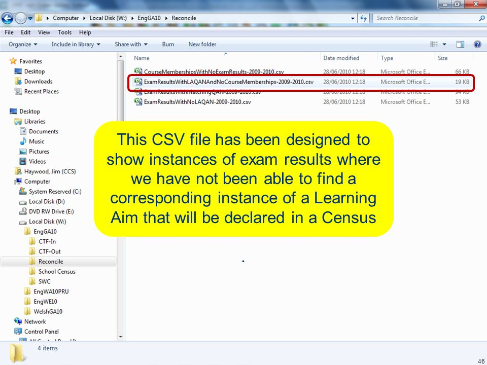 This CSV file has been designed to show instances of exam results where we have not been able to find a corresponding instance of a Learning Aim that will be declared in a Census.