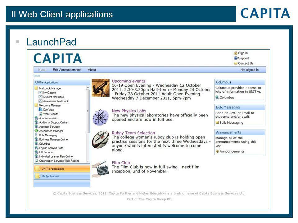 II Web Client applications  LaunchPad
