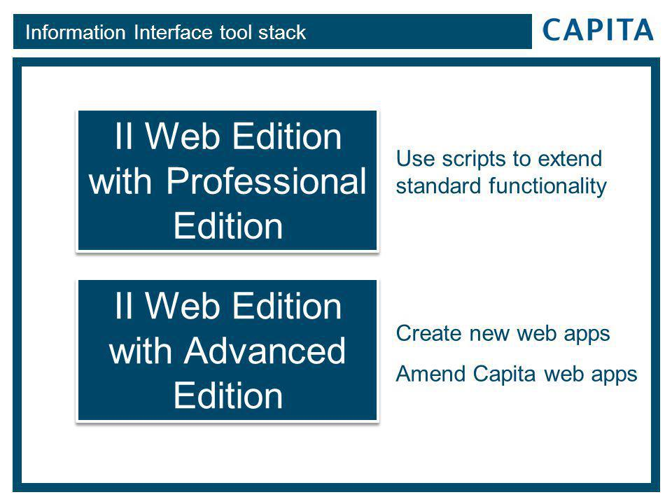 Information Interface tool stack II Web Edition with Professional Edition II Web Edition with Professional Edition II Web Edition with Advanced Edition II Web Edition with Advanced Edition Create new web apps Amend Capita web apps Use scripts to extend standard functionality