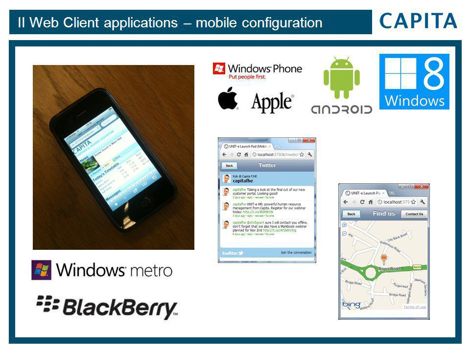 II Web Client applications – mobile configuration