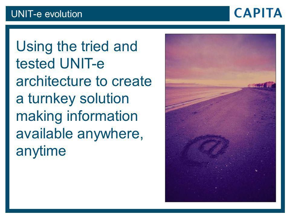 UNIT-e evolution Using the tried and tested UNIT-e architecture to create a turnkey solution making information available anywhere, anytime