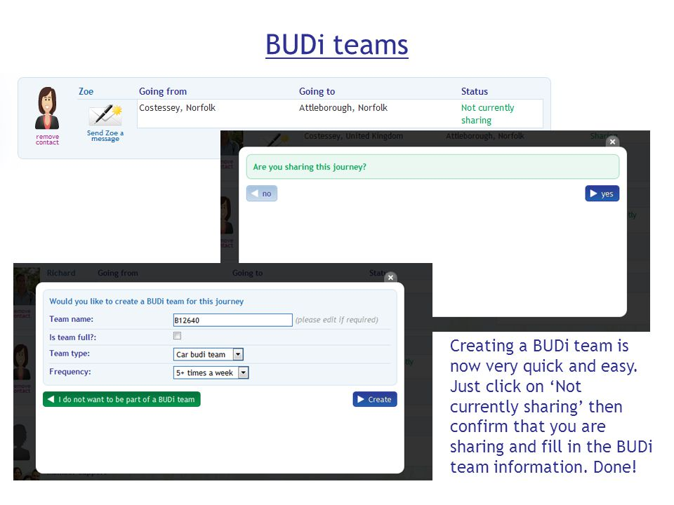 BUDi teams Creating a BUDi team is now very quick and easy.