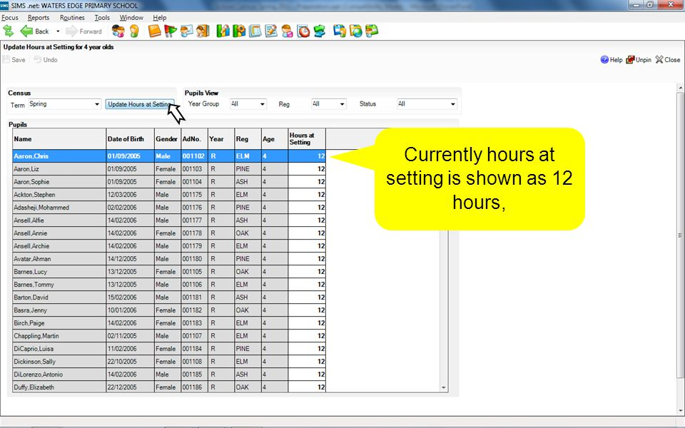 Currently hours at setting is shown as 12 hours,