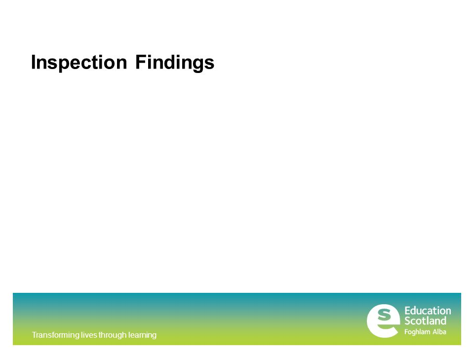 Transforming lives through learning Inspection Findings