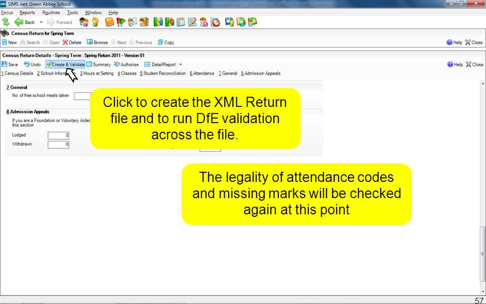 Click to create the XML Return file and to run DfE validation across the file. The legality of attendance codes and missing marks will be checked agai