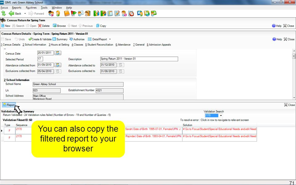 You can also copy the filtered report to your browser 71