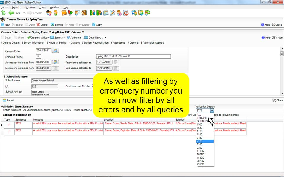 73 As well as filtering by error/query number you can now filter by all errors and by all queries