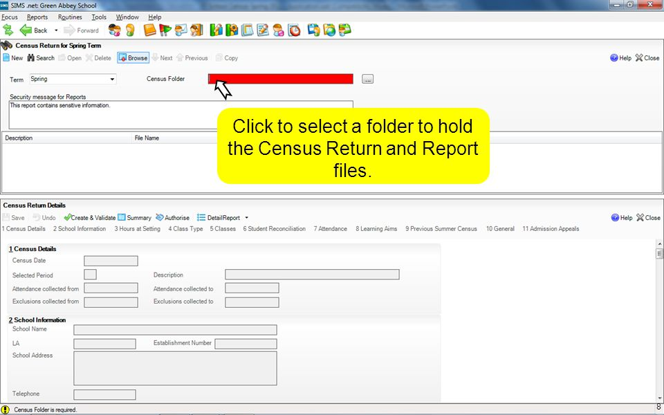 The Census Date is the reference date for all snapshot information and you would need permission from your LA/DfE to change it.