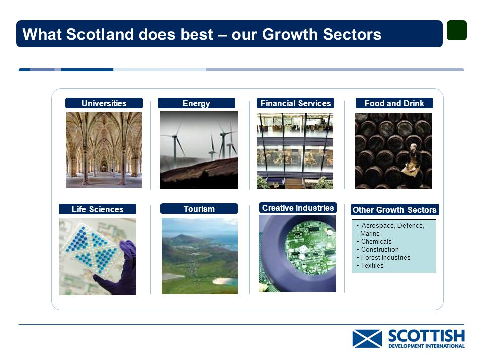 What Scotland does best – our Growth Sectors Financial Services Life Sciences Energy Creative Industries Food and Drink Tourism Universities Life Sciences Other Growth Sectors Aerospace, Defence, Marine Chemicals Construction Forest Industries Textiles