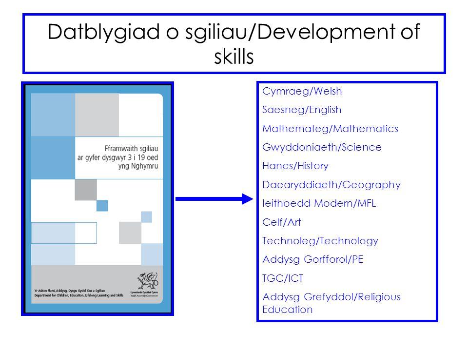 Datblygiad o sgiliau/Development of skills Cymraeg/Welsh Saesneg/English Mathemateg/Mathematics Gwyddoniaeth/Science Hanes/History Daearyddiaeth/Geogr