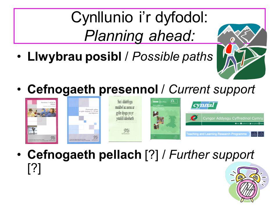Cynllunio i'r dyfodol: Planning ahead: Llwybrau posibl / Possible paths Cefnogaeth presennol / Current support Cefnogaeth pellach [?] / Further suppor