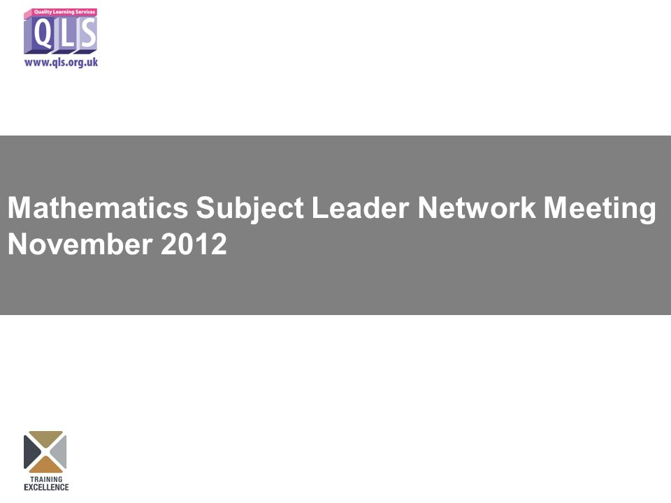 Mathematics Subject Leader Network Meeting November 2012