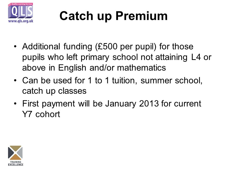 Catch up Premium Additional funding (£500 per pupil) for those pupils who left primary school not attaining L4 or above in English and/or mathematics Can be used for 1 to 1 tuition, summer school, catch up classes First payment will be January 2013 for current Y7 cohort