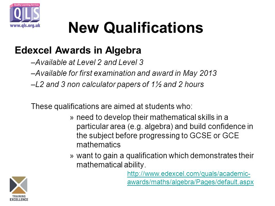 New Qualifications Edexcel Awards in Algebra –Available at Level 2 and Level 3 –Available for first examination and award in May 2013 –L2 and 3 non calculator papers of 1½ and 2 hours These qualifications are aimed at students who: »need to develop their mathematical skills in a particular area (e.g.