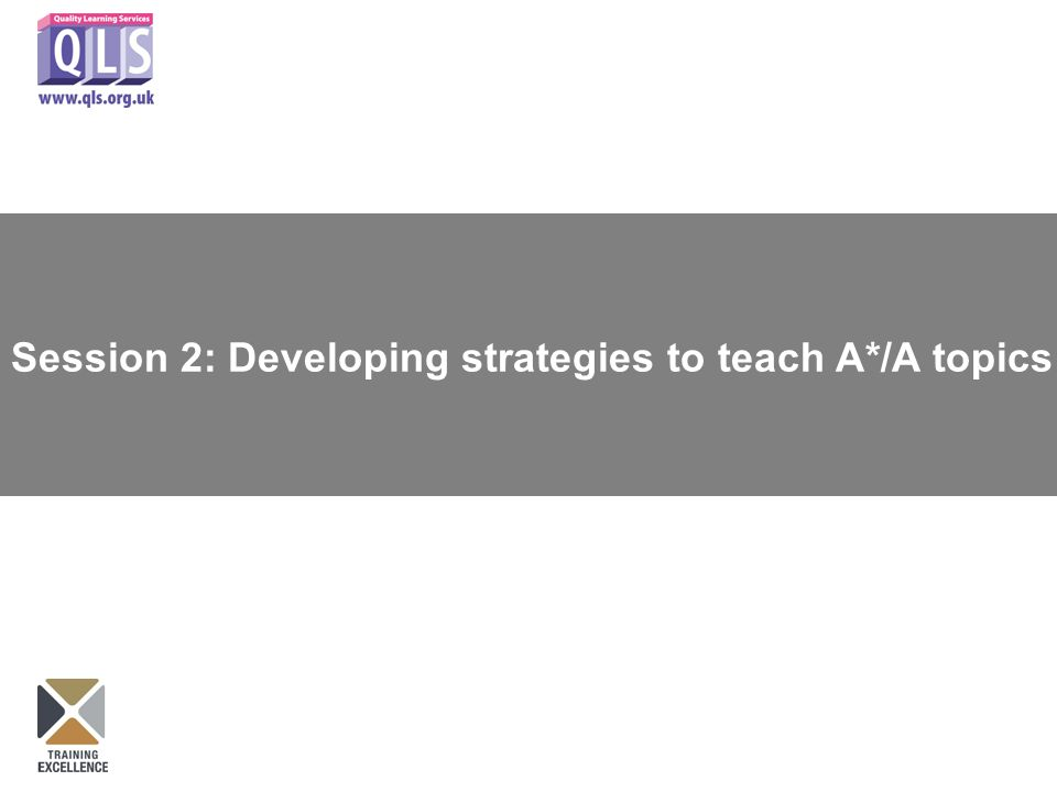 Session 2: Developing strategies to teach A*/A topics