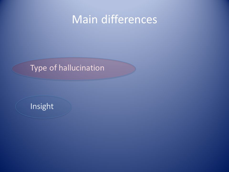 Type of hallucination Insight Main differences