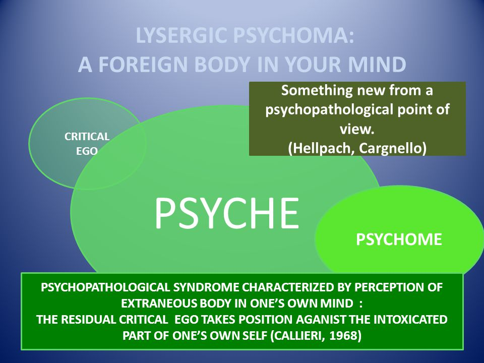 LYSERGIC PSYCHOMA: A FOREIGN BODY IN YOUR MIND PSYCHE CRITICAL EGO Something new from a psychopathological point of view. (Hellpach, Cargnello) PSYCHO