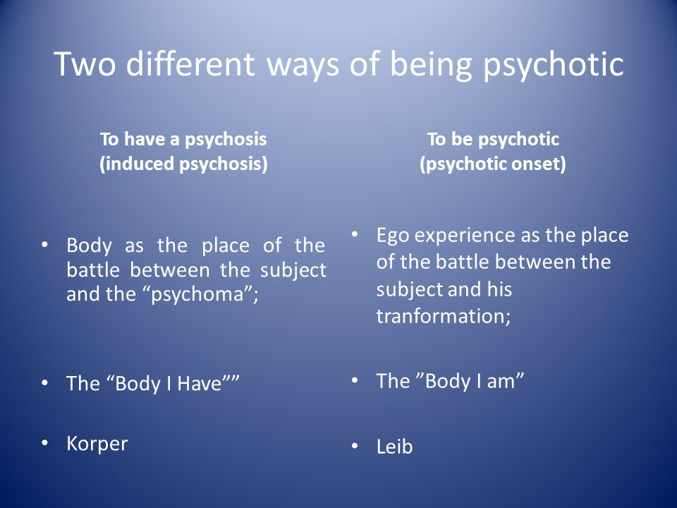 "Two different ways of being psychotic To have a psychosis (induced psychosis) Body as the place of the battle between the subject and the ""psychoma"";"