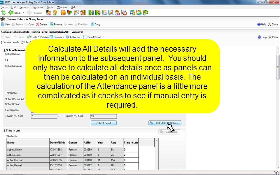 Calculate All Details will add the necessary information to the subsequent panel. You should only have to calculate all details once as panels can the