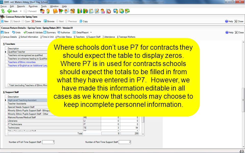 Where schools don't use P7 for contracts they should expect the table to display zeros. Where P7 is in used for contracts schools should expect the to