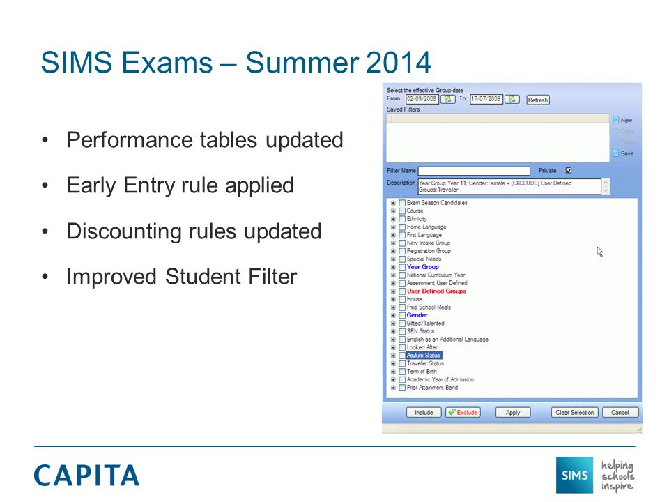 Performance tables updated Early Entry rule applied Discounting rules updated Improved Student Filter