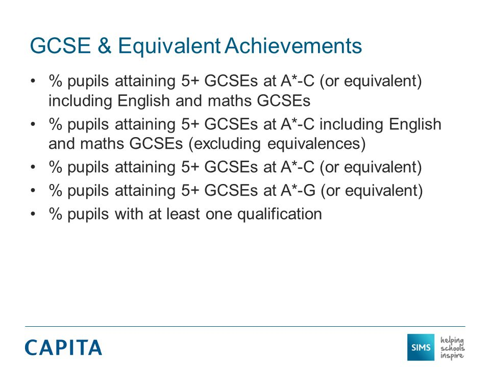 GCSE & Equivalent Achievements % pupils attaining 5+ GCSEs at A*-C (or equivalent) including English and maths GCSEs % pupils attaining 5+ GCSEs at A*-C including English and maths GCSEs (excluding equivalences) % pupils attaining 5+ GCSEs at A*-C (or equivalent) % pupils attaining 5+ GCSEs at A*-G (or equivalent) % pupils with at least one qualification