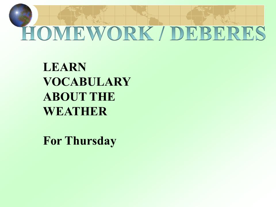 LEARN VOCABULARY ABOUT THE WEATHER For Thursday