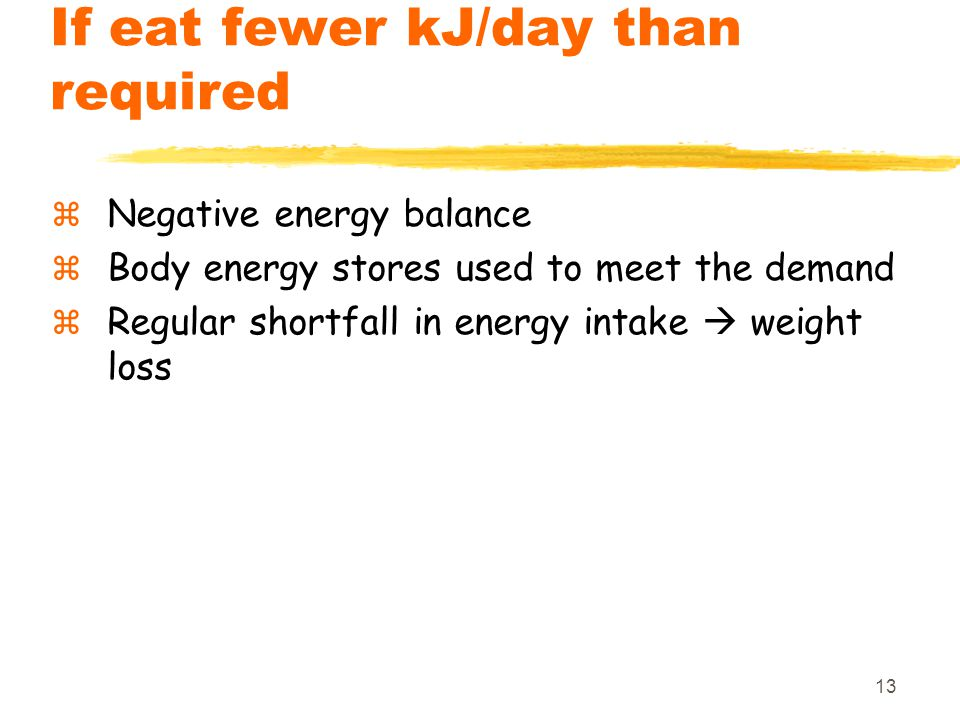 13 If eat fewer kJ/day than required  Negative energy balance  Body energy stores used to meet the demand  Regular shortfall in energy intake  wei