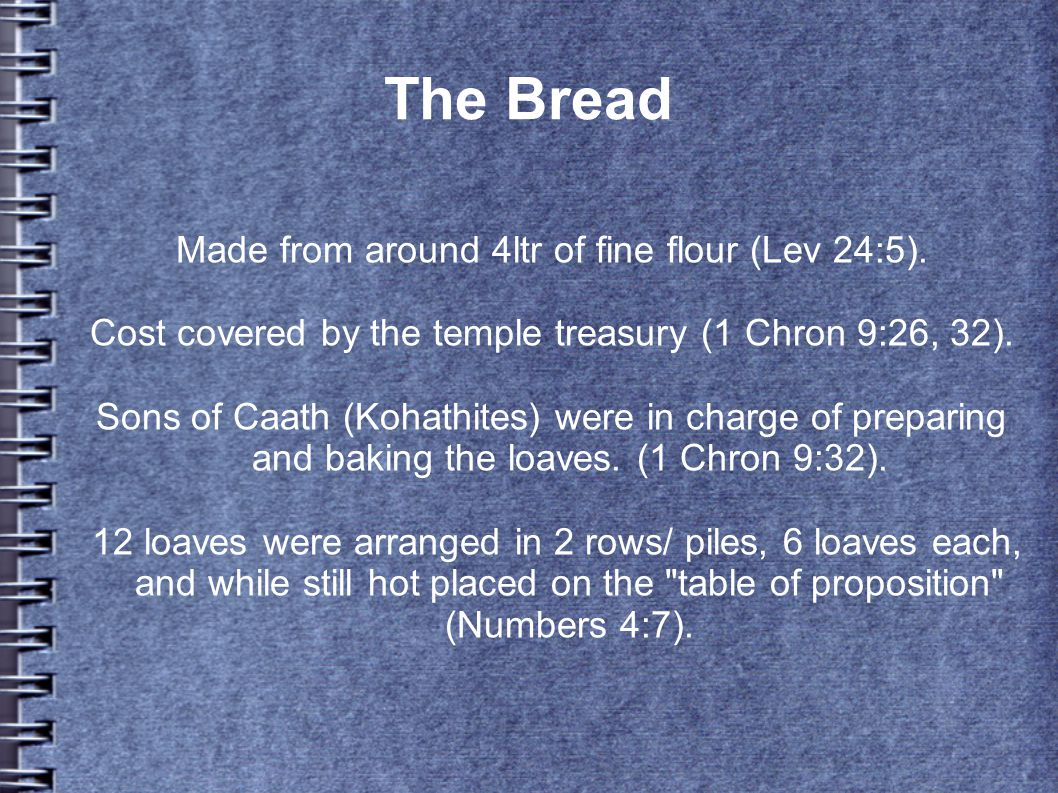 The Bread Made from around 4ltr of fine flour (Lev 24:5).