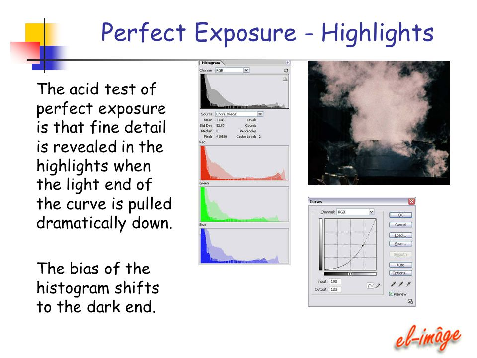 Perfect Exposure - Highlights The acid test of perfect exposure is that fine detail is revealed in the highlights when the light end of the curve is p