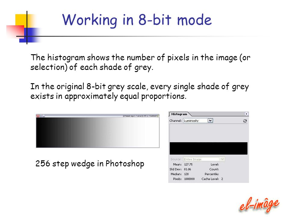Working in 8-bit mode The histogram shows the number of pixels in the image (or selection) of each shade of grey. In the original 8-bit grey scale, ev