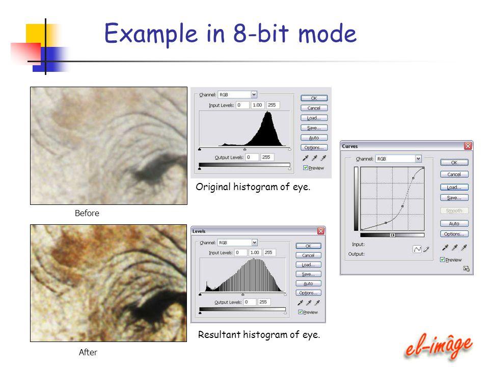 Example in 8-bit mode Original histogram of eye. Before After Resultant histogram of eye.