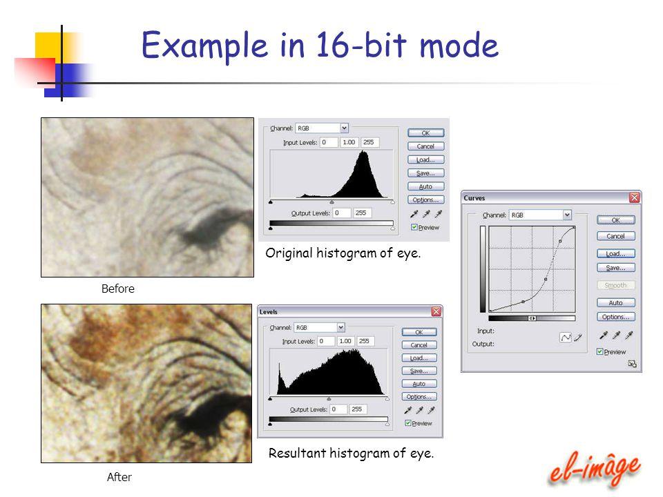Example in 16-bit mode Original histogram of eye. Before After Resultant histogram of eye.